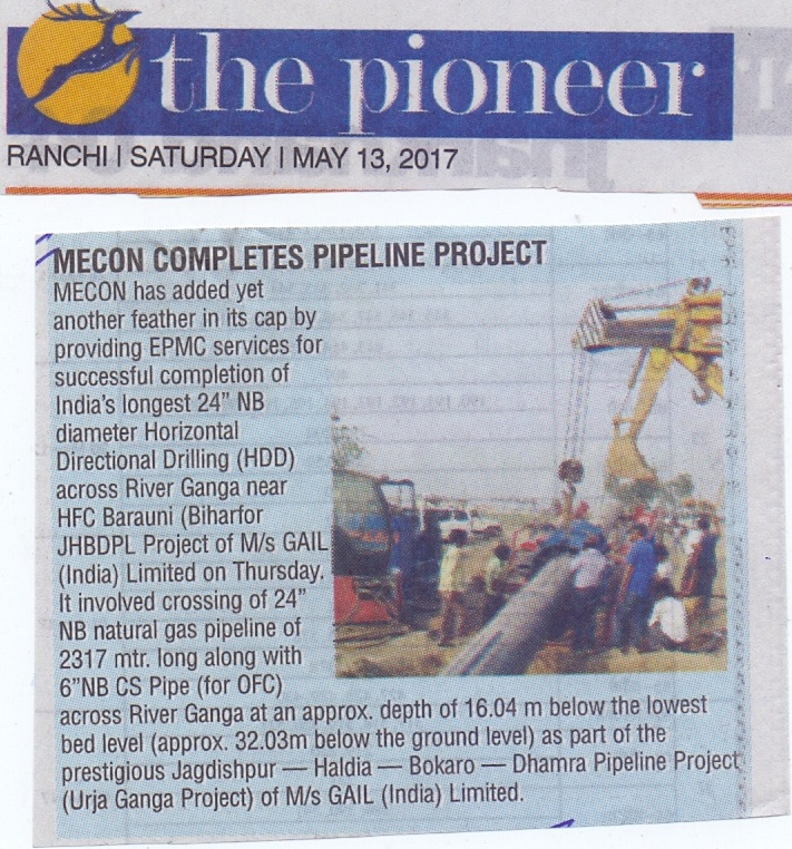 MECON Completes Pipline Project of M/s GAIL